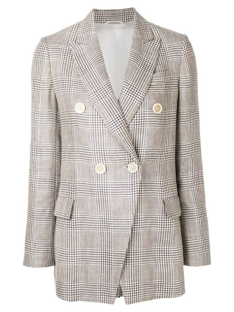 Brunello Cucinelli houndstooth double breasted blazer - Neutrals