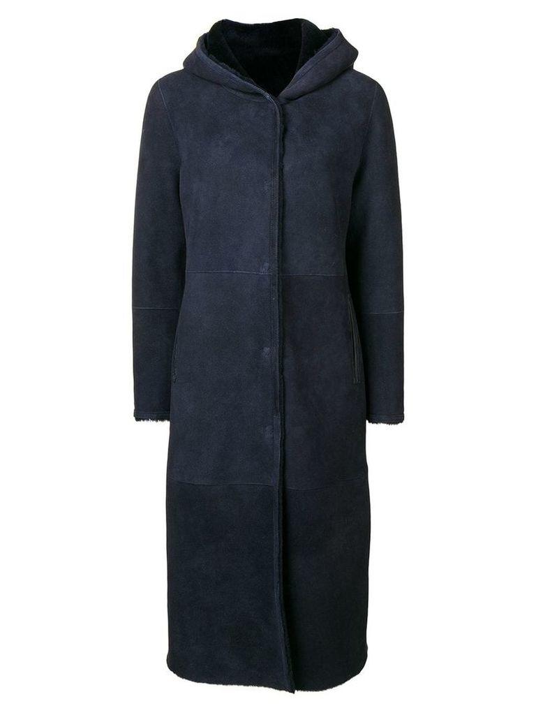 Liska hooded shearling coat - Blue