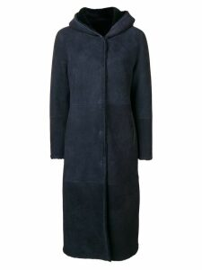 Liska hooded shearling coat - Blue