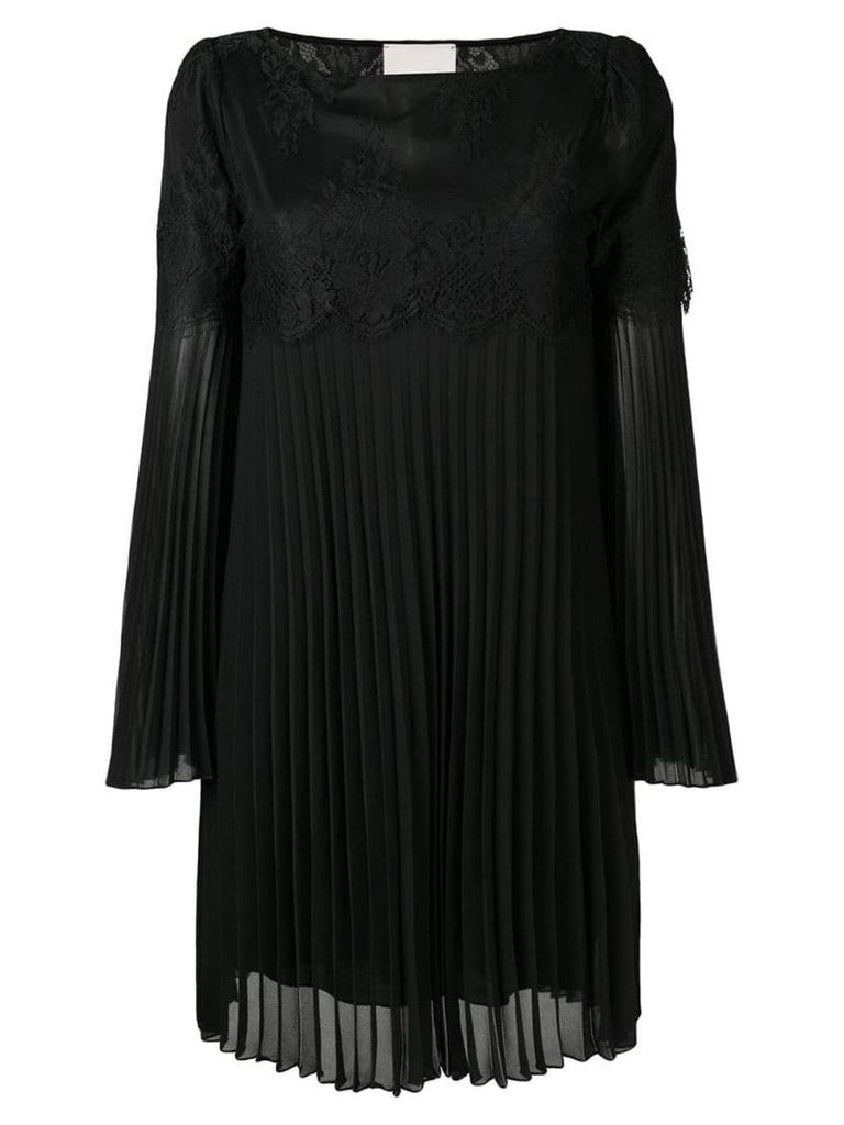 Aniye By lace insert pleated dress - Black