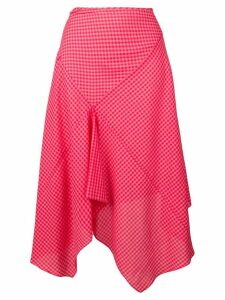 PS Paul Smith asymmetric check-print skirt - Red