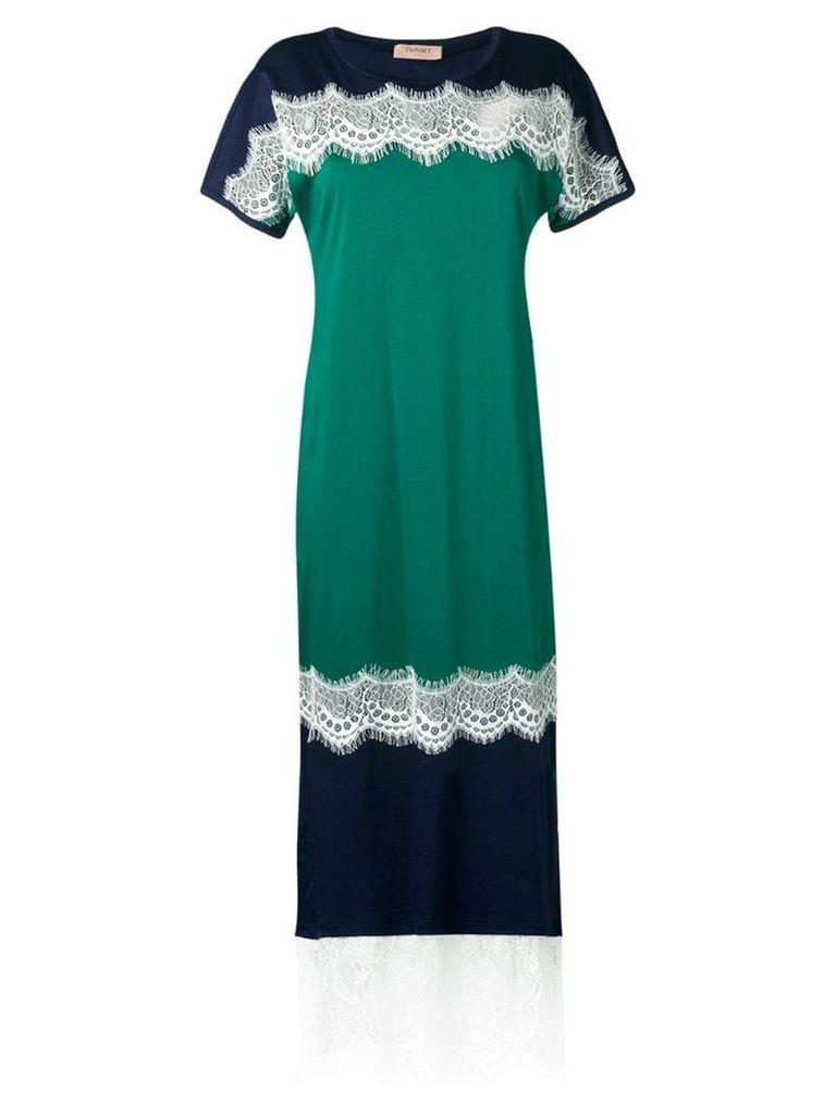 Twin-Set lace panelled dress - Green
