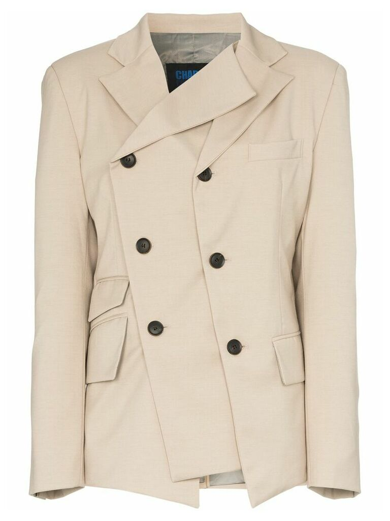 Charm's asymmetric double-breasted blazer - Neutrals