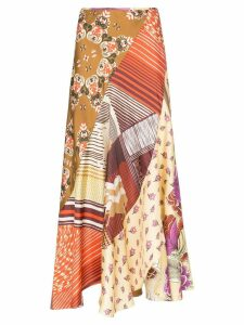 Chloé floral patchwork print silk skirt - Green