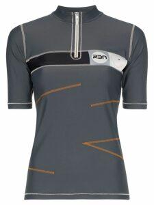 RBN X Bjorn Borg zip-up contrast stitch polo shirt - Grey