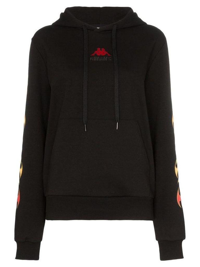 Charm's Flame print hoodie - Black