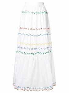 Tory Burch embroidered wave skirt - White