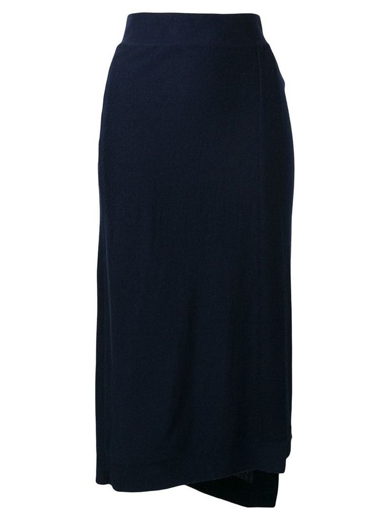Pringle Of Scotland Asymetric Wrap Skirt In Dark Navy - Blue