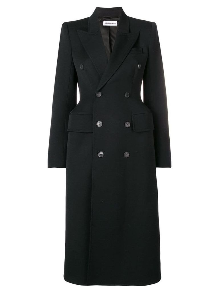 Balenciaga hourglass double-breasted coat - Black