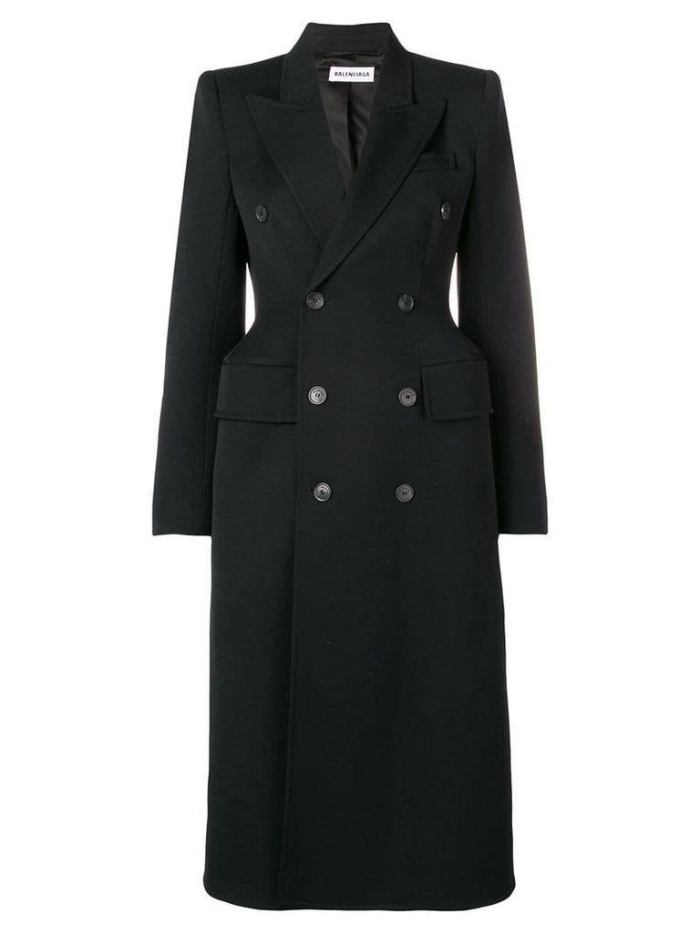 Balenciaga hourglass double-breasted coat - Black