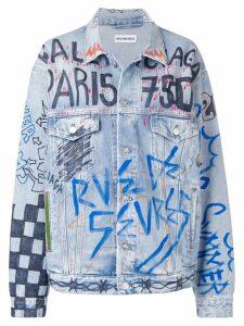 Balenciaga graffiti oversized denim jacket - Blue