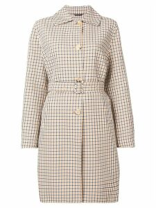 Ermanno Scervino checked belted trench coat - White