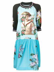 Antonio Marras floral graphic panelled dress - Blue