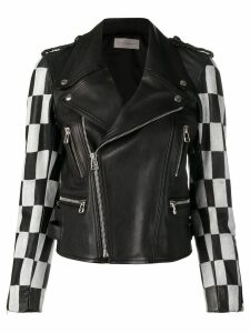 Faith Connexion checkered bike zipped jacket - Black