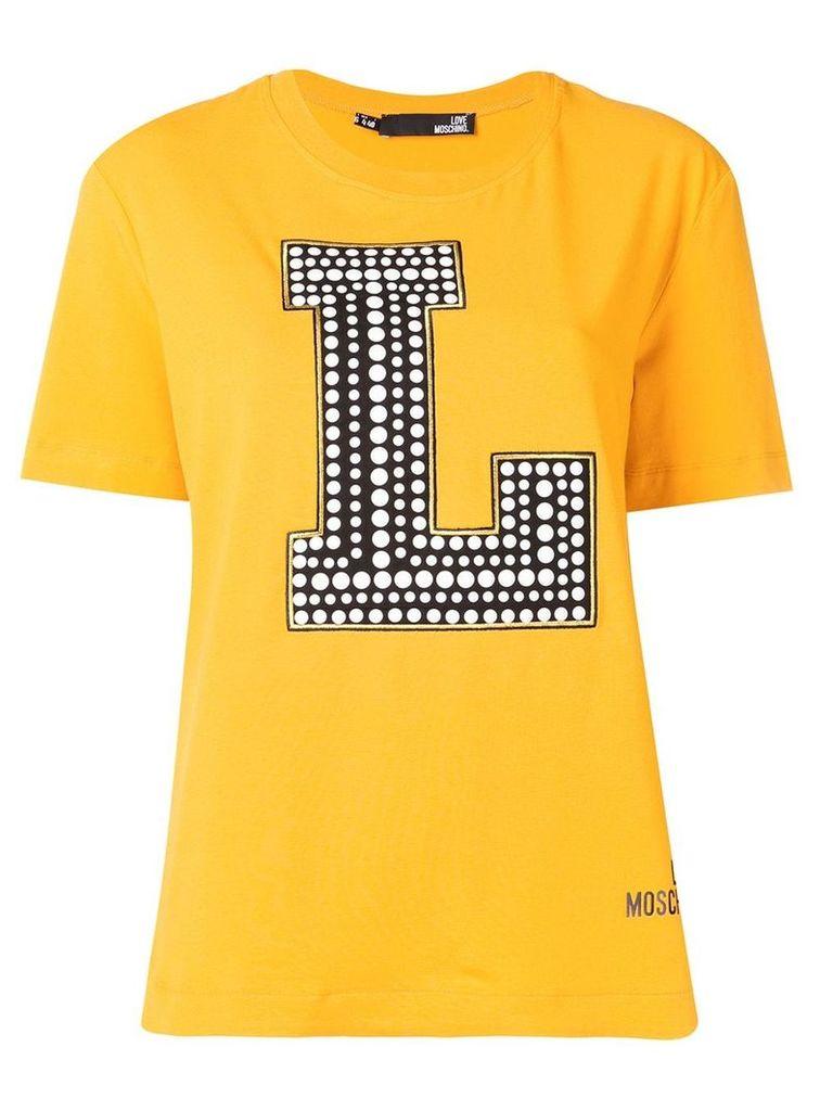 Love Moschino logo print T-shirt - Yellow