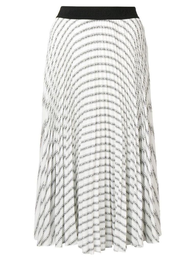 Karl Lagerfeld pleated logo skirt - White