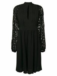 Giambattista Valli embroidered sleeve midi dress - Black