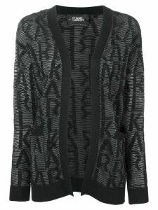 Karl Lagerfeld fitted logo cardigan - Black