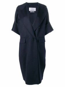 Max Mara short sleeved double-breasted coat - Blue