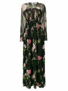 Giambattista Valli long floral ribbed gown - Black