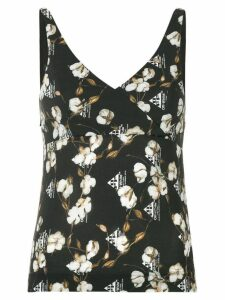Off-White logo and floral print tank top - Black