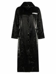 Charm's eye print vinyl raincoat - Black
