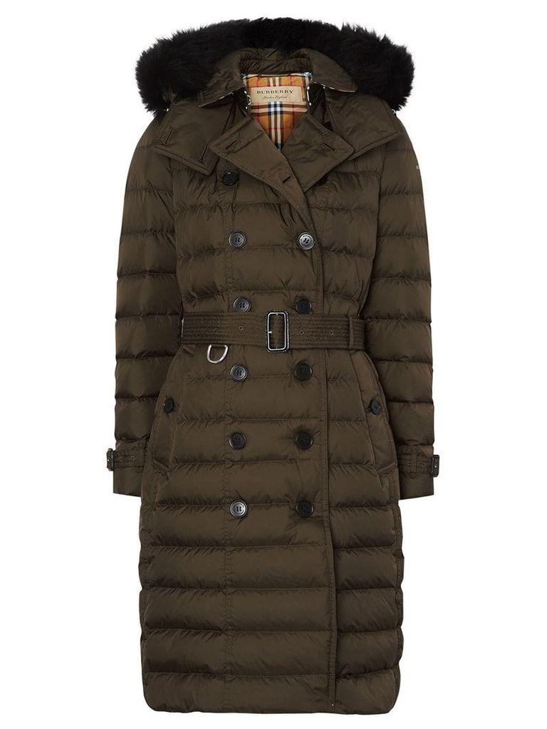Burberry detachable hood puffer coat - Green