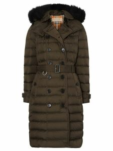 Burberry detachable hood puffer coat - Green