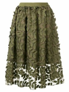 Steffen Schraut leaf embroidered skirt - Green