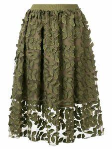 Steffen Schraut leaf embroidered skirt - Green