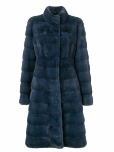 Liska long panelled coat - Blue