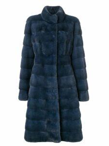 Liska long panelled coat - Blue