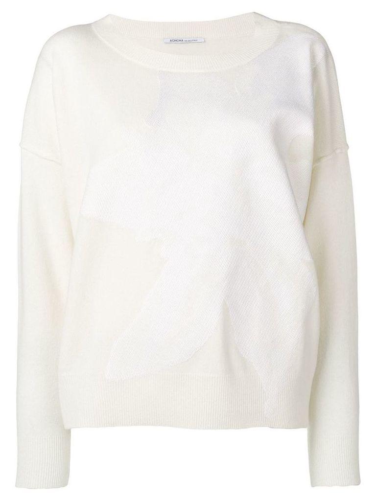 Agnona flower motif sweater - Neutrals