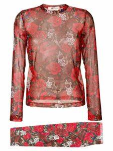 Comme Des Garçons rose print top - Red
