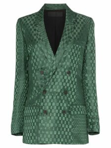Haider Ackermann double-breasted checked silk-blend blazer - Green