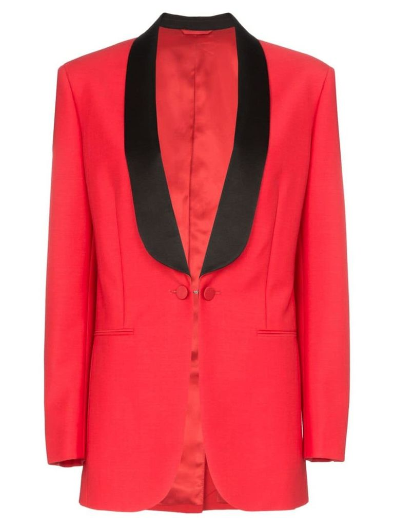 Calvin Klein 205W39nyc deep V-neck mohair wool blend tux blazer - Red