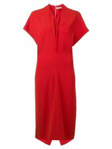 Poiret V-neck shift dress - Red