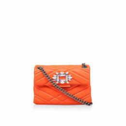 Kurt Geiger London Leather Mini Mayfair X - Orange Leather Embellished Mini Shoulder Bag