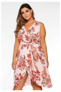 Quiz Curve Pink And Red Floral Wrap Dress