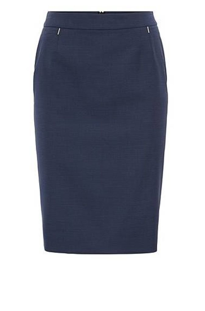 Regular-fit pencil skirt in houndstooth virgin wool