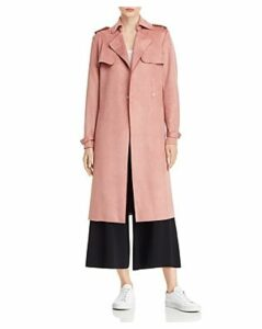 T Tahari Faux Suede Trench Coat