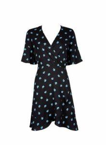 Womens **Black Blue Floral Print Wrap Dress- Blue, Blue