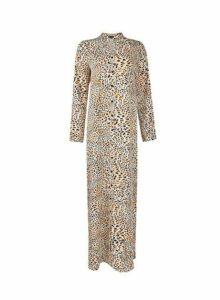Womens Multi Colour Leopard Print Notch Neck Shirt Maxi Dress- Leopard, Leopard