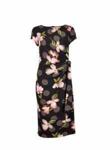 Womens **Lily & Franc Black Bloom Print Belted Bodycon Dress- Black, Black