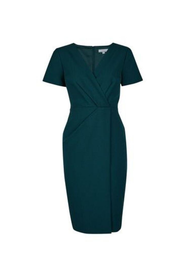 Womens Petite Green V-Neck Wrap Dress- Green, Green