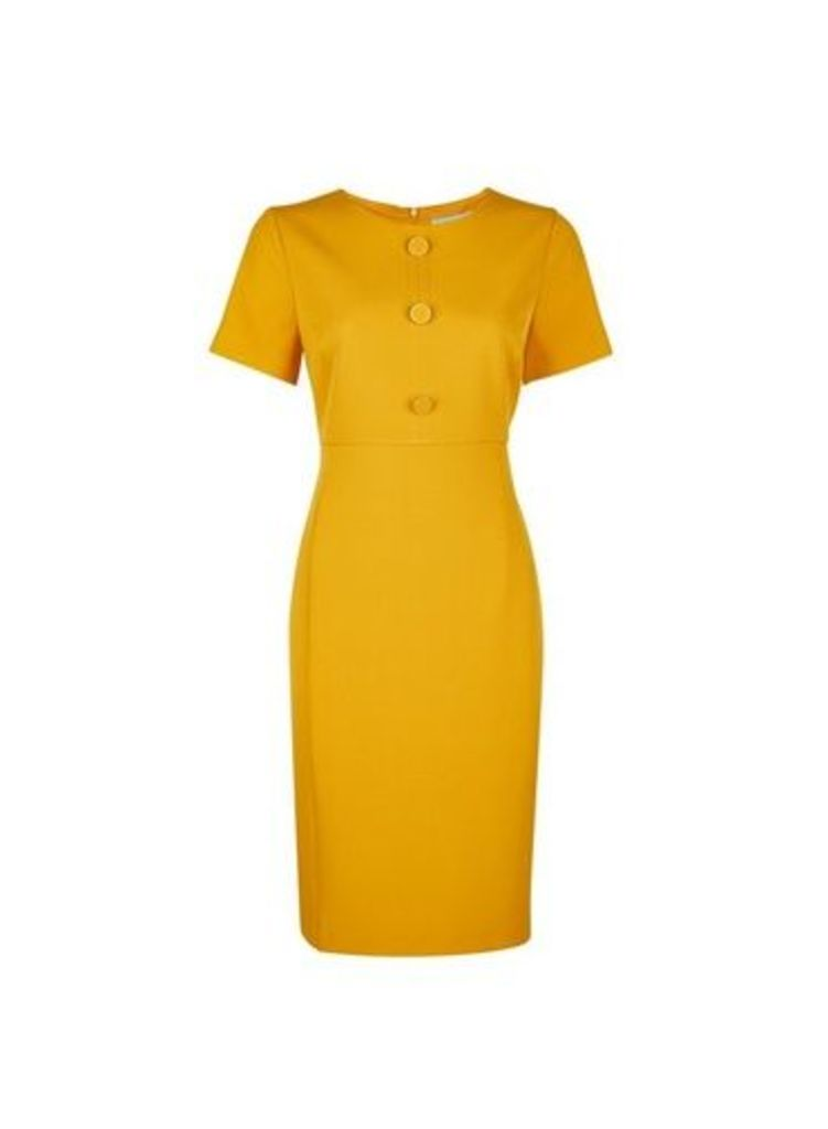 Womens Petite Yellow Button Shift Dress- Orange, Orange