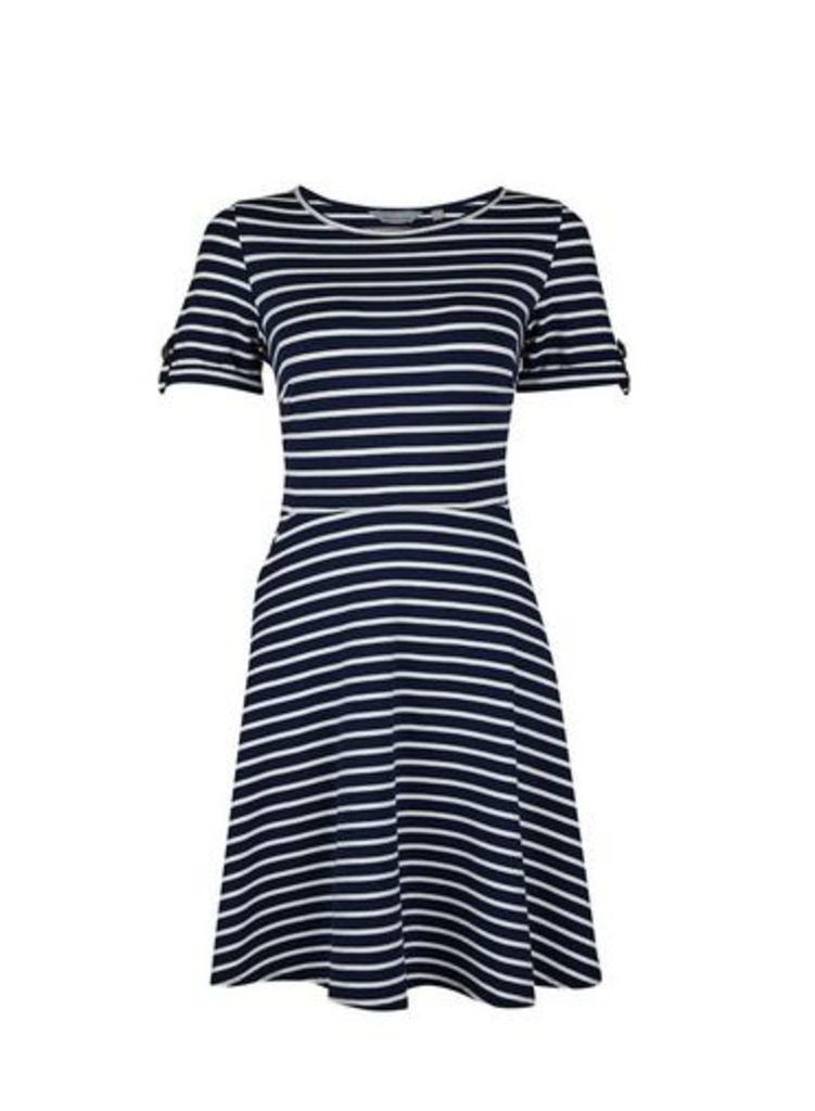 Womens Petite Navy Stripe Print Fit And Flare Dress- Blue, Blue