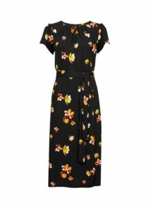 Womens Black Floral Print Tie Detail Midi Skater Dress- Black, Black