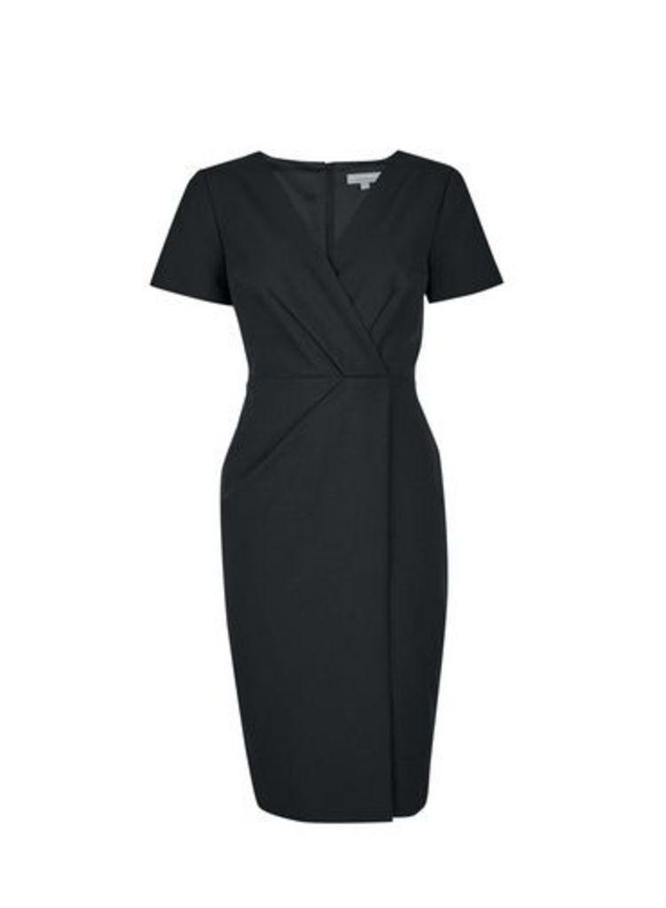 Womens Petite Black V-Neck Wrap Dress- Black, Black
