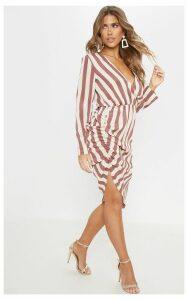 Mauve Stripe Ruched Midi Dress, Purple